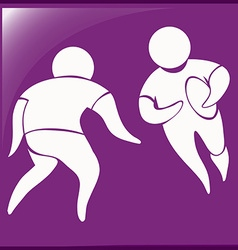 Sport icon for rugby on purple background vector