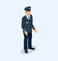 Aviator pilot figure isolated on a light vector