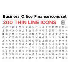 business office finance theme icons set vector image vector image