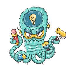 cartoon creative octopus vector image