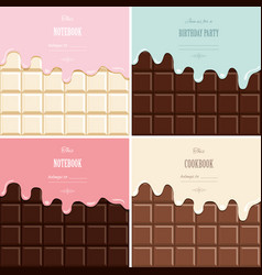cream melted on chocolate bar background set cute vector image