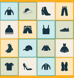 Dress icons set collection of singlet stylish vector