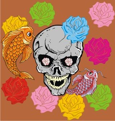 flower fish and skull vector image vector image