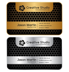 Golden silver honeycomb business card vector