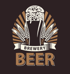 label for the beer in the brown color vector image vector image