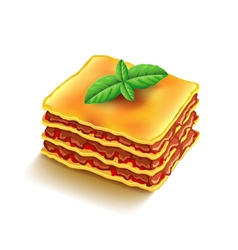 Lasagna isolated on white vector image vector image