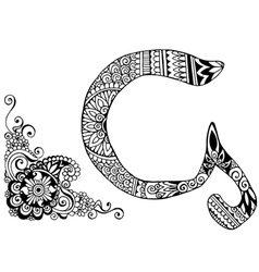 letter G decorated in the style of mehndi vector image vector image