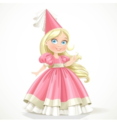 Little princess in a pink dress with long blond vector
