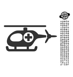 Medical helicopter icon with work bonus vector