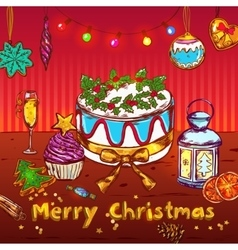 Merry christmas sketch card vector
