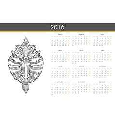Modern calendar 2016 with monkey in spanish ready vector