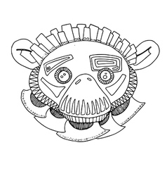 Monkey hand drawing outline cartoon vector