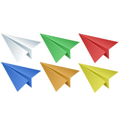 Paper airplanes in six colors vector