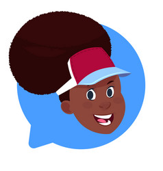Profile icon african american female head in chat vector