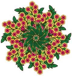 Rustic radial floral ornament vector image vector image