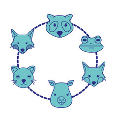 set cute heads wilds animals design vector image
