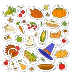 Set of Cute Thanksgiving icons vector image