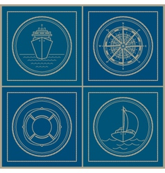 Set of marine emblem vector