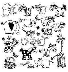 Set with black and white childish animals vector
