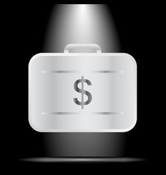 Silver suitcase with money your personal secure vector