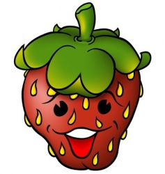 smiling strawberry vector image vector image