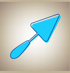 trowel sign sky blue icon with defected vector image
