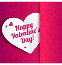 Valentines day lacy paper heart greeting card vector image