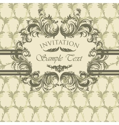 Vintage invitation card with calligraphic frame vector image