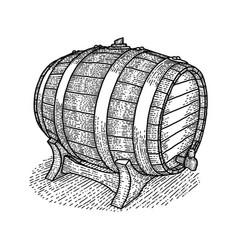 vintage wooden barrel poster vector image vector image