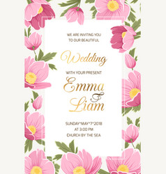 Wedding invitation hellebore anemone poppy flowers vector