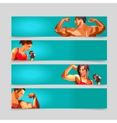 Sport activity banner templates collection vector