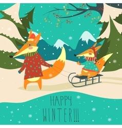 Funny foxes sledding vector