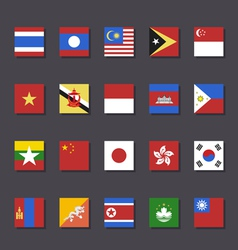 East asia flag icon set metro style vector