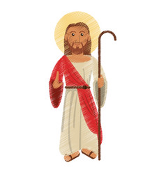 Drawing jesus christ with stick design vector