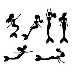cartoon mermaids silhouette vector image
