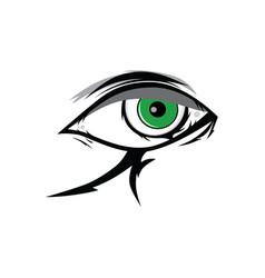 Cartoon angry green horus god eyes for comics vector