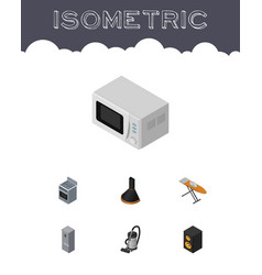 Isometric device set of vac air extractor stove vector