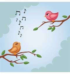 Two birds on a branch in vector