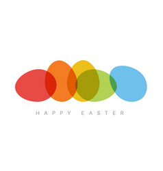 Happy easter - minimalist colorful easter card vector