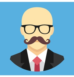Bald Man with Mustache in Business Suit Ico vector image