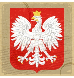Coat of arms of Poland on the old postage card vector image