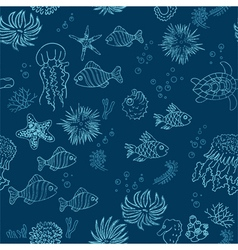 Hand drawn sea theme seamless background vector
