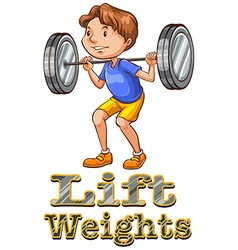 Strong man doing weightlifting vector