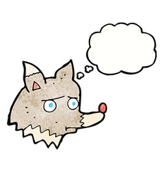 Cartoon unhappy wolf with thought bubble vector