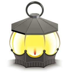 Vintage street lamp glowing lantern vector