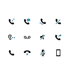 Mobile phone handset duotone icons on white vector