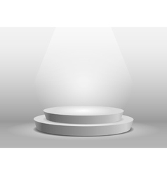 Empty template of white round podium vector