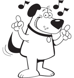 Cartoon dog with musical notes vector