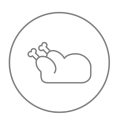 Raw chicken line icon vector