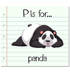Flashcard letter p is for panda vector